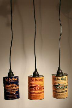 suspension originale fabriquée à partir de boite de conserve vintage, trois luminaires customisés, style industriel