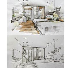#guestroom #hostel #interiordesign #sketch #watercolor