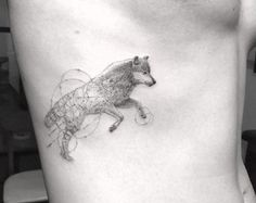 Detailed+single+needle+wolf+tattoo+by+Doctor+Woo