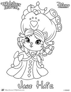 whisker haven tales coloring page of jane hair