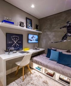 Boys bedroom desk space and under bed storage. Boys bedroom desk space and under bed storage. Small Kids Bedroom, Simple Bedroom, Study Room Design, Bedroom Interior, Small Room Bedroom, Couple Bedroom, Room Design, Boy Bedroom Design, Small Bedroom