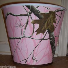 Pink Real Tree Camo Trashcan. I have been looking for this in pink. For our bathroom