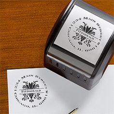Damask Greetings Self-Inking Address Stamper. We ordered this for our wedding invitations, everyone loved it!