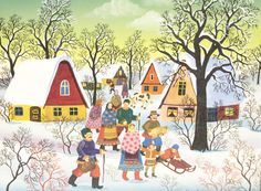Dorf im Winter mit Personen, Naive Malerei von Susi Majdic Öl auf Leinwand Größe mit Rahmen: 60 cm x 50 cm