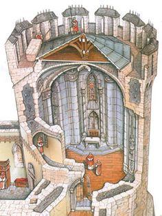 Castillos: De todas las torres del castillo, la única diferente era la que alojaba la capilla. Medieval Houses, Medieval World, Medieval Town, Medieval Castle, Medieval Fantasy, Gothic Architecture, Historical Architecture, Castle Layout, Castle Illustration