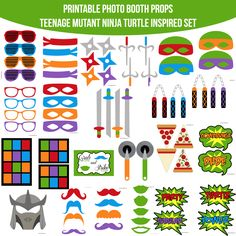 Amanda Keyt DIY Printable Photobooth Prop Sets and more! Ninja Turtle Party, Ninja Turtles, Ninja Party, Tmnt, Diy Photo Booth Props, Photobooth Props Printable, Boy Birthday Parties, Birthday Ideas, 3rd Birthday
