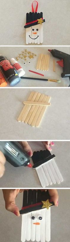 Popsicle Sticks Snowman: cute snowmen crafts! Easy and Fun DIY Christmas crafts for You and Your Kids to Have Fun.