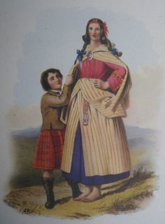 Highland Dress by George F. Collie With Colour Plates from McIan's the Clans of the Scottish Highlands. A King Penguin Book First Edition, 1948. Sold by 'SoMuchFrippery' vintage shop on etsy -  https://www.etsy.com/uk/shop/SoMuchFrippery?ref=pr_shop_more Vintage 1940s book featuring antique tartan costume. This illustration features a Scottish woman with a child dressed in a tartan kilt
