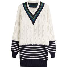 Maison Margiela Wool Pullover ($915) ❤ liked on Polyvore featuring tops, sweaters, dresses, multicolored, striped sweater, white pullover sweater, oversized white sweater, chunky white sweater and wool sweaters