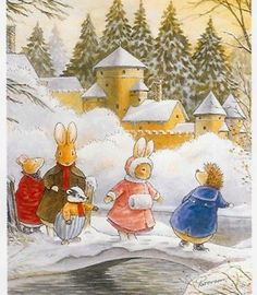 """""""Winter at Foxwood"""" ・ Foxwood Tales by Cynthia and Brian Paterson ・ Foxwood… Art For Kids, Childrens Illustrations, Vintage Art, Illustration Art, Art, Animal Illustration, Peter Rabbit And Friends, Fairytale Art, Vintage Illustration"""