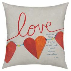 "Cotton-blend pillow with a faux down fill and text motif. Made in the USA.  Product: PillowConstruction Material: Polyester-cotton cover and faux down fillColor: Multi Features:   Made in the USAInsert included Dimensions: 18"" x 18""Cleaning and Care: Spot clean"