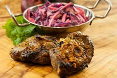 Sticky Pan Lamb, Pink Moroccan Coleslaw: Flavour filled tender lamb cutlets and delicious coleslaw with a twist Valentines Day Dinner, Coleslaw, Lamb, Steak, Pork, Beef, Cooking, Dinner Ideas, Recipes