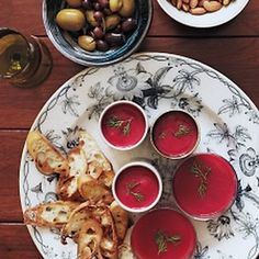 Beet-and-Cauliflower Soup  3	tablespoons extra-virgin olive oil 1½	cups chopped onion (from 1 medium) 6	cups chopped cauliflower (from 1 small head) 3	cups chopped peeled red beets (3 medium) Coarse salt 6	cups chicken broth 2	tablespoons coarsely chopped fresh dill, plus sprigs for garnish