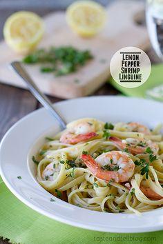 Lemon Pepper Shrimp Linguine {A Virtual Baby Shower}