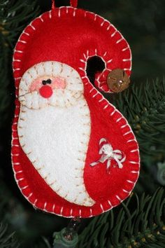 Sweet Santa Christmas Ornament/Felt/Handstitched by UpAndreasAlley, $6.50