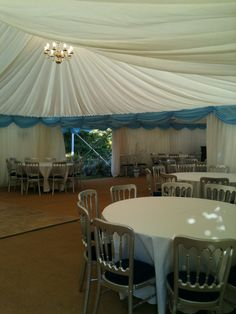 marquee for 120 sitting and 200 in total for the evening. swags in all colours
