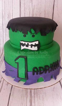 Incredible Hulk Cake Fist Smash made using rice crispy treats
