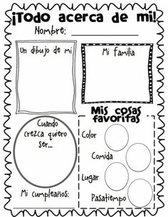 All About Me Poster Freebie.have them do at the beginning and end of each school year! I remember my kids doing these same posters when they were in elementary. Bilingual Classroom, Bilingual Education, Spanish Classroom, Classroom Freebies, Elementary Spanish, Teaching Spanish, Teaching Resources, Spanish Grammar, Beginning Of The School Year
