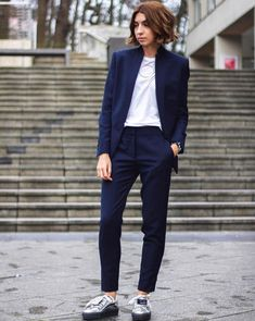 """14 Ways To Wear Trainers Now #refinery29  http://www.refinery29.uk/instagram-trainer-sneaker-trends-ideas-2016#slide-5  Dress Down A SuitA suit + sneakers = the ultimate effortlessly elegant style win. Take note from blogger Brittany Bathgate in Stella McCartney tailoring from Vestiaire perfectly paired with <a href=""""http://www.acnestudios.com/shop/women/shoes/adriana-metallic-silver.html"""" rel=""""nofollow..."""