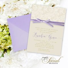 Purple First Holy Communion Invitation - Calligraphy Personalized Custom Purple Ribbon Velvet Cream Lace Creme Lace Printable Party Invite