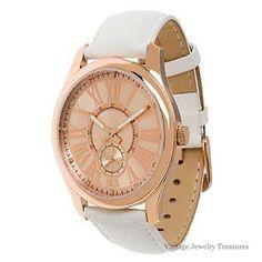 QVC Bronzo Italia White Leather Strap Bronze Watch New in Box $129 #BronzoItalia #LuxuryDressStyles