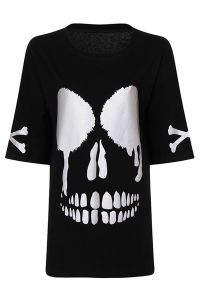 Milisha - Gothic Skull Face Oversize T-Shirt