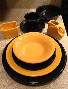 Fiesta® in Black and Marigold (retired). Kitchen Dining, Kitchen Decor, Halloween Dishes, Everyday Dishes, Vintage Dinnerware, Homer Laughlin, Antique Stores, Lemon Grass, Tablescapes