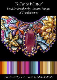 Eva Maria Keiser Designs very interesting bead embroidery by Joanne Teague of ThistleDew4u
