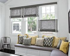 Bench window seat and window treatment for our living room windows. Window Seat Kitchen, Kitchen Window Treatments, Large Window Treatments, Modern Window Coverings, Kitchen Blinds, Smith And Noble, Curtains With Blinds, Roman Blinds, Window Curtains