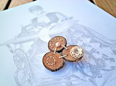 Wood Button Brooch  The Pearly Threesome Brooch by P8ButtonArt, €14.00