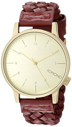 Men's Wrist Watches - KOMONO Unisex KOMW2030 Winston Woven Series Analog Display Japanese Quartz Red Watch *** Check out the image by visiting the link.