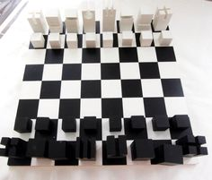 Contemporary Chess Set italian chess set in bronze, nickel and acrylic | modern games