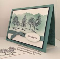 features Stampin Up's Lovely as a Tree stamp set; Stampin' in the Sand: Lagoon Trees with Sympathy Scrapbooking, Scrapbook Cards, Stampin Up, Stamped Christmas Cards, Xmas Cards, Bush, Stamping Up Cards, Get Well Cards, Card Sketches