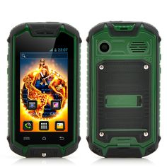 2.4 Inch Small Rugged Smartphone with 2MP Rear Camera - Android 4.2 OS, Bluetooth, Water Resistant (Green)