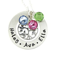 Family Tree Necklace with Birthstones  Hand by jcjewelrydesign, $62.00