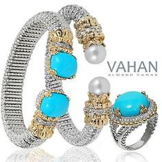 Turquoise and pearl jewelry by #Vahan!  #Skatells.