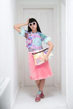 Bubbles Tokyo marabou trimmed t-shirt, Romance was Born halterneck, Christopher Kane belt, Roksanda Ilincic clutch, Topshop felted skirt, Tomorrowland socks, P.A.M. glitter boots, Craig & Karl x Le Specs sunglasses