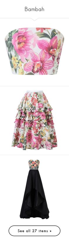 """""""Bambah"""" by designing-myworld ❤ liked on Polyvore featuring tops, floral, pink tube top, print top, floral print tops, pink floral top, flower print top, skirts, high-waisted skirt and high waist skirt"""