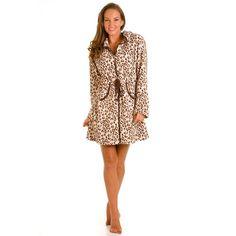 29ec962688 Leopard Print Zip Front Robe Brown Leopard