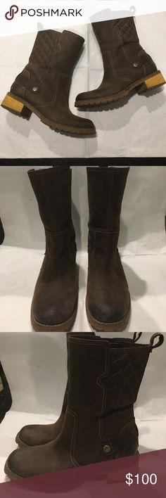 "Timberlands Earthkeeper boots Pre-Owned in great condition. Water proof leather upper; Rubber sole grounds, with an easy-on tab and anti fatigue footbed for daylong comfort. Heel height:  1 3/4""; boot shaft height: 8 1/2""; 14"" calf; Color: Dark Brown Timberland Shoes Heeled Boots"