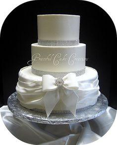Elegant White Buttercream Wedding Cake with Bling by Graceful Cake Creations, via Flickr