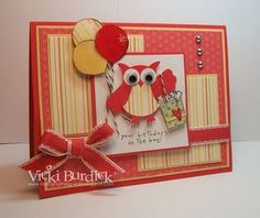 bright yellow and red birthday card with a red owl bearing balloons and a gift bag...two step owl punch...google eyes...luv it!!!