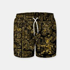 Mayan Spring GOLD Swim Shorts, Live Heroes