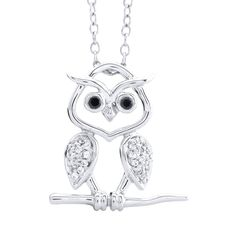 Aspca Tender Voices Sterling Silver 1/8ct TDW and Black Diamond Owl Pendant