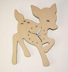 "Wooden wall clock - ""Baby Deer"" nursery wall art girl wood fawn bambi"