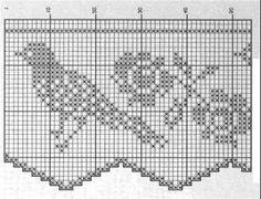 border pattern of filet crochet Crochet Birds, Thread Crochet, Crochet Stitches, Knit Crochet, Crochet Patterns, Crochet Curtains, Crochet Tablecloth, Crochet Doilies, Crochet Boarders