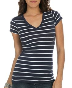 Striped V-Neck Tee from WetSeal.com