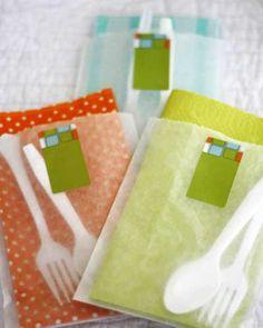 Easy Potluck Party Idea: DIY Utensil Bags