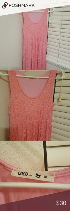 Rose pink lace maxi dress Sleevless rose pink lace maxi dress Material is a little stretchy New without tags, never worn (beautiful dress, just too long for petite me) Coco Dresses