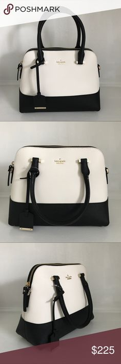 """Kate Spade Cameron Street Maise Crosshatched leather & matching trim, 14k gold plated hardware, bookstripe poly twill lining, 21"""" adjustable, convertible cross body strap, 5"""" drop double handles, zip top closure, interior zip & double slide pockets, dust bag.  style# pxru7673 kate spade Bags"""